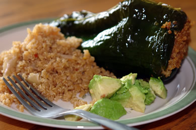 Gluten-Free Poblano Peppers stuffed with Quinoa and Smoked Gouda